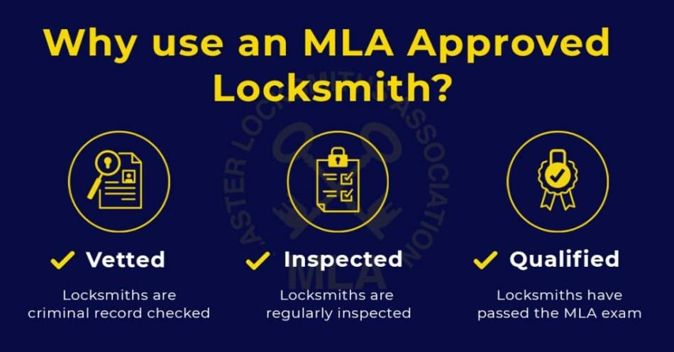 Why use an MLA approved locksmith in Verwood infographic Vetted Inspected and Approved 496